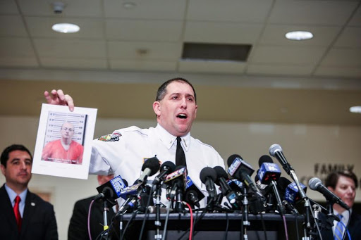 Barron County Sheriff holds picture of Jake Patterson, arrested for the kidnapping of Jayme Closs. Photo courtesy Mercury News.