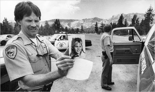 El Dorado Sheriff's deputies, along with California Highway Patrol search for Jaycee after she was abducted by strangers while walking to her school bus stop in 1991. Photo courtesy CBS News.